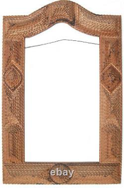 Spectaculaire Carved Tramp Art Stacked Frame 32 Arched Mirror Picture Folk