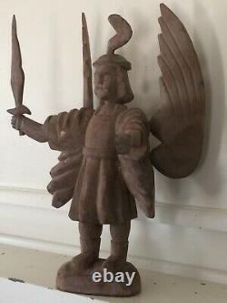 Statue Antique De Michael D'archange D'art Folklorique Religieux En Bois Sculpté À La Main