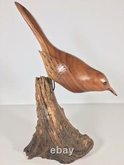 Statue D'oiseau En Bois Sculpté Vintage Mi-siècle Art Folklorique Drift Nature Sandpiper