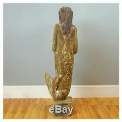 Statue En Bois Sculpté À La Main Sirène Folk Art Sculpture Vintage Style 5.5 Pieds De Haut
