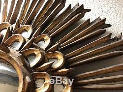 Sun Bois Sculpté Antique Sunburst Wall Mirror Folk Art Or Gilt C