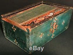 Super Pa Folk Art Bois Peint Couvercle Coulissant Bougie Boîte, D. 1830, Bleu Sarcelle, Excellent