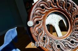 Superbe Antique En Chêne Sculpté De Cadre Photo Arts & Crafts Nouveau Folk Art Guilloché
