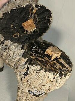 Superbe Grand Bois Sculpté Antique Mouton Peint Lampe Nativité Folk Art