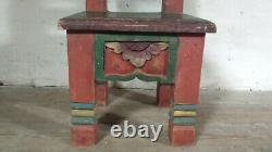 Tabouret Tibétain Antique Tribal Folk Art Furniture Hand Carved Prayer Stool Népal