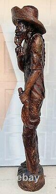 Taille De Vie 6ft Folk Wood Carving Statue Sculpture Haitian Man Antique Rare
