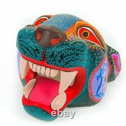 Tête Noire De Jaguar Oaxacan Alebrije Sculpture Mexicaine D'animal D'art