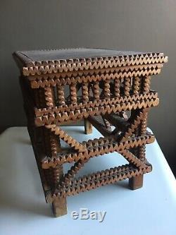 Tramp Art Table Vintage Art Populaire Primitif En Bois Sculpté Cadre Box
