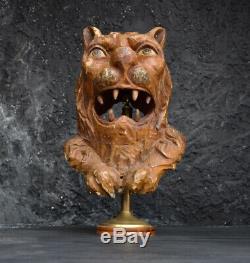 Très Rare 1880 Sculpté À La Main Folk Art Lions Head Hunting Lodge Schloss Ambras