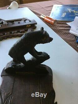 Unique Antique Sliding Sculpté À La Main Ours Forêt-noire Réserver Ends Rack 19c Art Folk