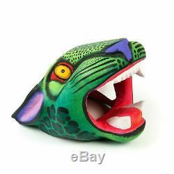 Vert Jaguar Tête Oaxacan Alebrije Sculpture Sur Bois Sculpture Art Populaire Mexicain