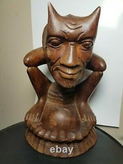 Vieille Art Populaire Devil Démon Sculpture Primitive Figure Tribal 11 Bois Sculpté