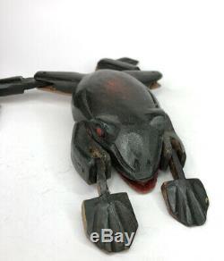 Vintage 10 Sculpté À La Main Art Populaire Peint Frog Ice Spear Pêche Leurre Lure Monnaie