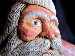 Vintage 1986 Jack Hughes Folk Art Carving Père Noël Bougeoir Signé