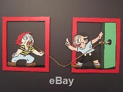 Vintage American Folk Art MID Siècle Cutout Découpages Peinture Originale Toothache