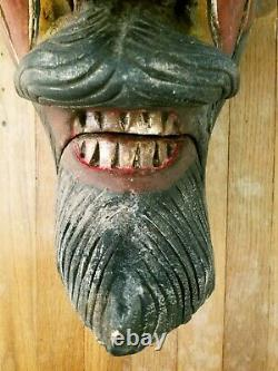 Vintage Art Populaire Mexicain Diable Masque Peint À La Main Sculpté Goat Horns Guerrero