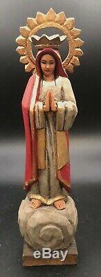 Vintage Art Populaire Mexicain Santo Bois Statue Figure Sculpté Saint Religieuse