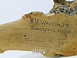 Vintage Blue Heron Shorebird Decoy Statue Carved Bucksport, Maine Chante Wasson