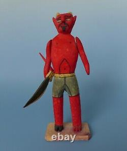Vintage Bois Mexicain Sculpté Diable Diablito Oaxaca 9 3/8 De Haut