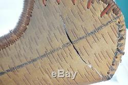 Vintage Canoe Art Birch Bark Folk 38in Long Traverse City Michigan Carved Avirons
