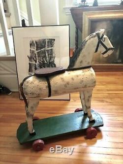 Vintage Carved Folk Art Main Cheval Sur Roues Peinture Originale