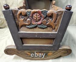Vintage Carved Wood Baby Doll Cradle Handmade Rustic Rocker Crib Folk Art