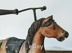 Vintage Cheval Jouet Vélo En Cuir En Bois Massif Sculpté À La Main Crins Queue Folk Art