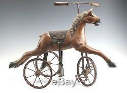 Vintage En Bois Sculpté Cheval Tricycle Vélo Folk Art Home Décor Jouet