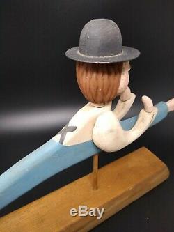 Vintage Folk Art Amish Sculpture En Bois Signed'88 Homme Au Chapeau, Mobile Head & Arms