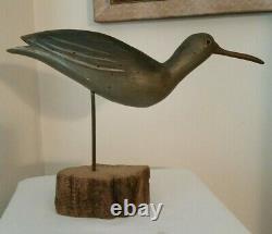 Vintage Folk Art En Bois Sculpté Sandpiper Shore Oiseaux Decoy Sculpture Signe