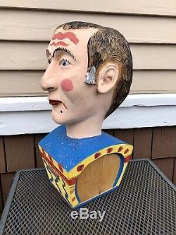Vintage Folk Art Peint En Bois Sculpté Carnaval Sideshow Tête Buste, Taille Vie