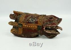 Vintage Folk Art Sculpté À La Main Painted Cheval De Carrousel Head Merry Go Round Cheval