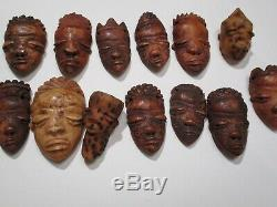 Vintage Folk Art Sculptures En Os Afrique Africain Masque Tribal Sculpture Visage Tête