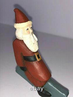 Vintage Folk Art Wood Carving Santa & Rennes. Signé Jane Harris 1991. N.c