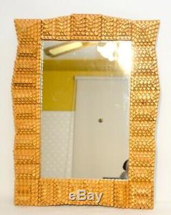 Vintage Grand Miroir Tramp Art Cadre En Bois Folk Art 24 X Sculpté À La Main 17 1/4