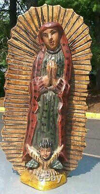 Vintage Guatemala Folks Bois Sculpté Art Vierge De Guadalupe Santos Statue