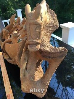 Vintage Haïtien Nacius Joseph Signé Sculpté Bois Sculpture D'art Populaire Énorme