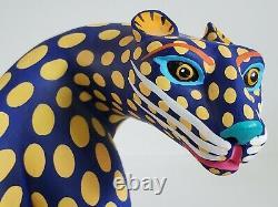 Vintage Luis Pablo Oaxacan Bois Jaguar Leopard Sculpture Mexicaine Art Populaire Grand Chat