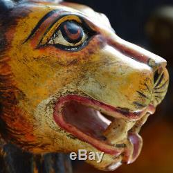 Vintage Main Indian Sculpté Surdimensionnée Folk-art Trône