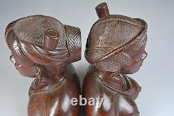 Vintage Main Sculpté Ebony Wood Tribal Shaman & Shamaness Busts Folk Art Euc
