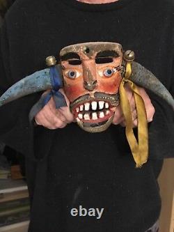 Vintage Masque De Festival Mexicain Ou Guatémaltèque Bois Sculpté Folk Art Rare