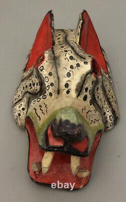 Vintage Mexican Festival Mask Wood Carved Folk Art Rare