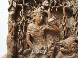 Vintage Old Bali Carving Icon Relic Ornate Folk Art Master Panel Sculpture Rare