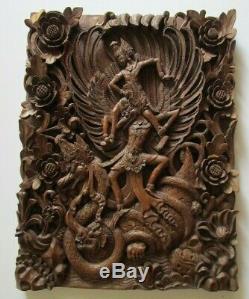 Vintage Old Bali Sculpture Icône Relic Ornement Art Populaire Panneau Maître Sculpture Rare