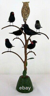 Vintage Pennsylvania Folk Art Manfred Scheel Carved Blackbird Tree With Owl