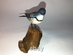 Vintage Peter Peltz Carved & Painted Wood Folk Art Song Bird Warbler