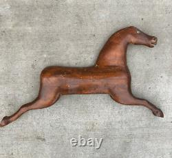 Vintage Primitive Hand Carved Horse Wall Sculpture Folk Art Américain