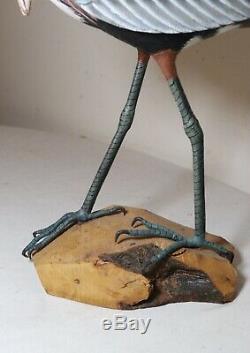 Vintage Qualité Main Canard Rivage Oiseau Art Populaire En Bois Sculpté Sculpture Statue Leurre