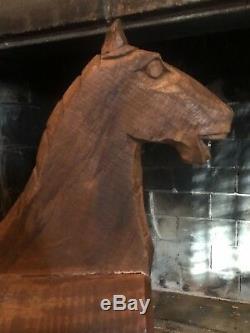 Vintage Sculpté À La Main En Bois En Bois Folk Art Toy Cheval