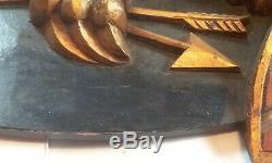 Vintage Sculpté À La Main En Bois Folk Art Bellamy Style Aigle Plaque